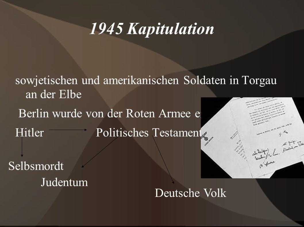 1945 Kapitulation sowjetischen und amerikanischen Soldaten in Torgau an der Elbe. Berlin wurde von der Roten Armee eingeschlossen.