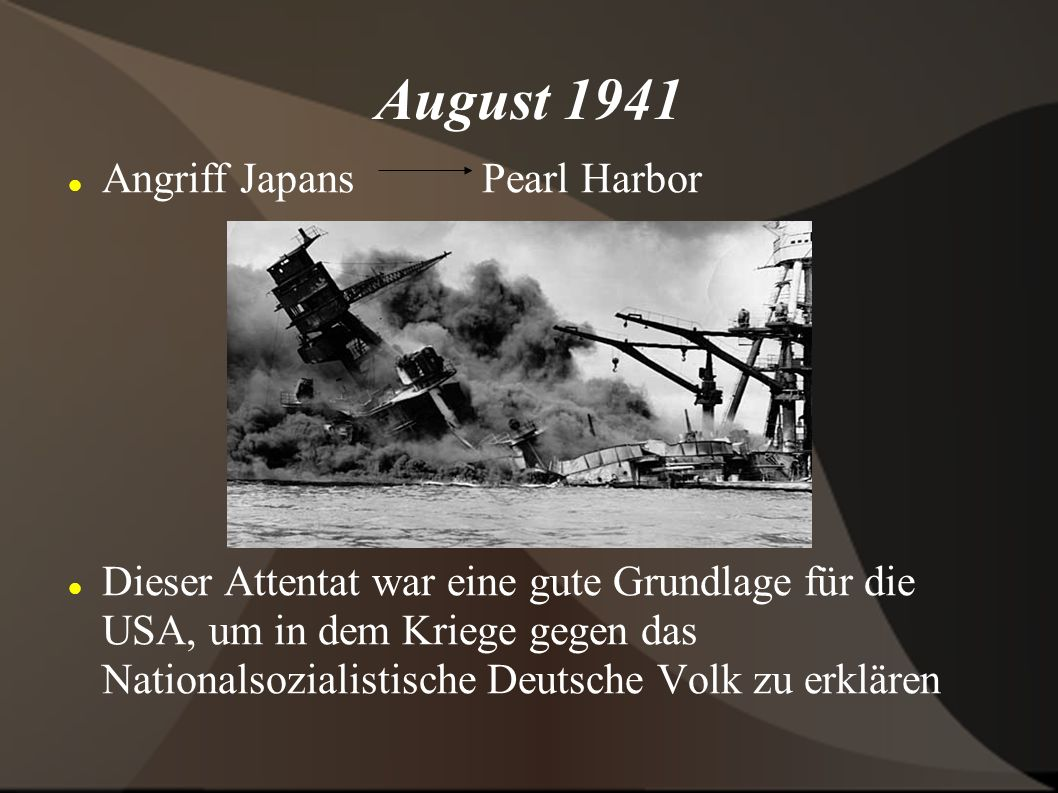August 1941 Angriff Japans Pearl Harbor