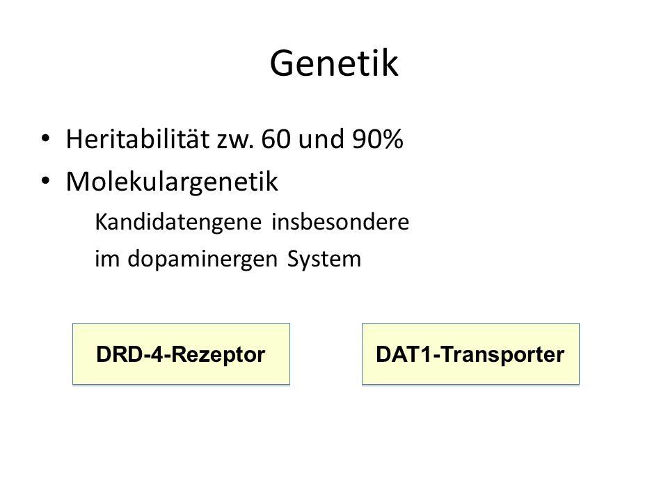 Genetik Heritabilität zw. 60 und 90% Molekulargenetik