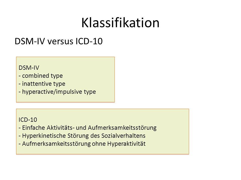 Klassifikation DSM-IV versus ICD-10 DSM-IV - combined type