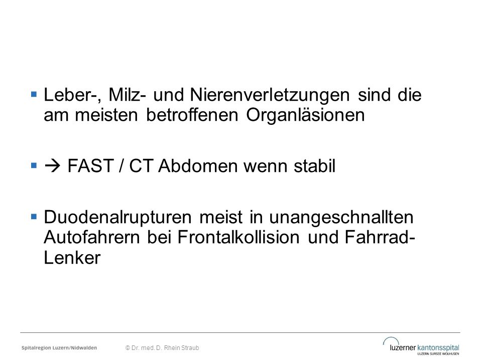  FAST / CT Abdomen wenn stabil