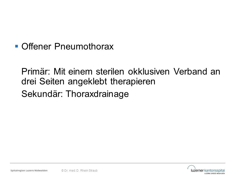 Sekundär: Thoraxdrainage