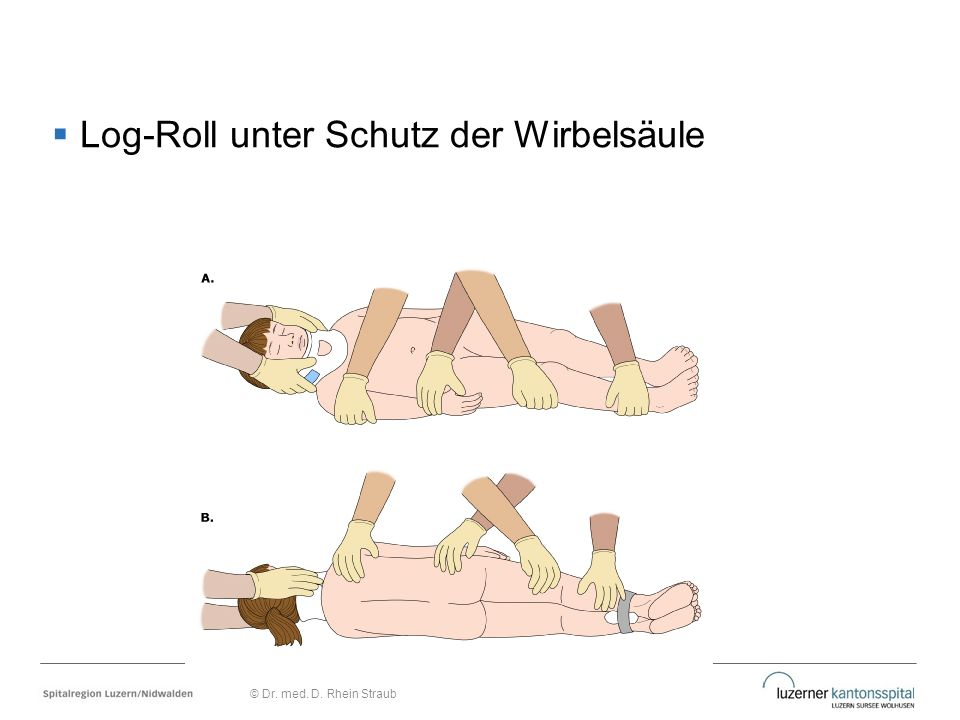 Log-Roll unter Schutz der Wirbelsäule