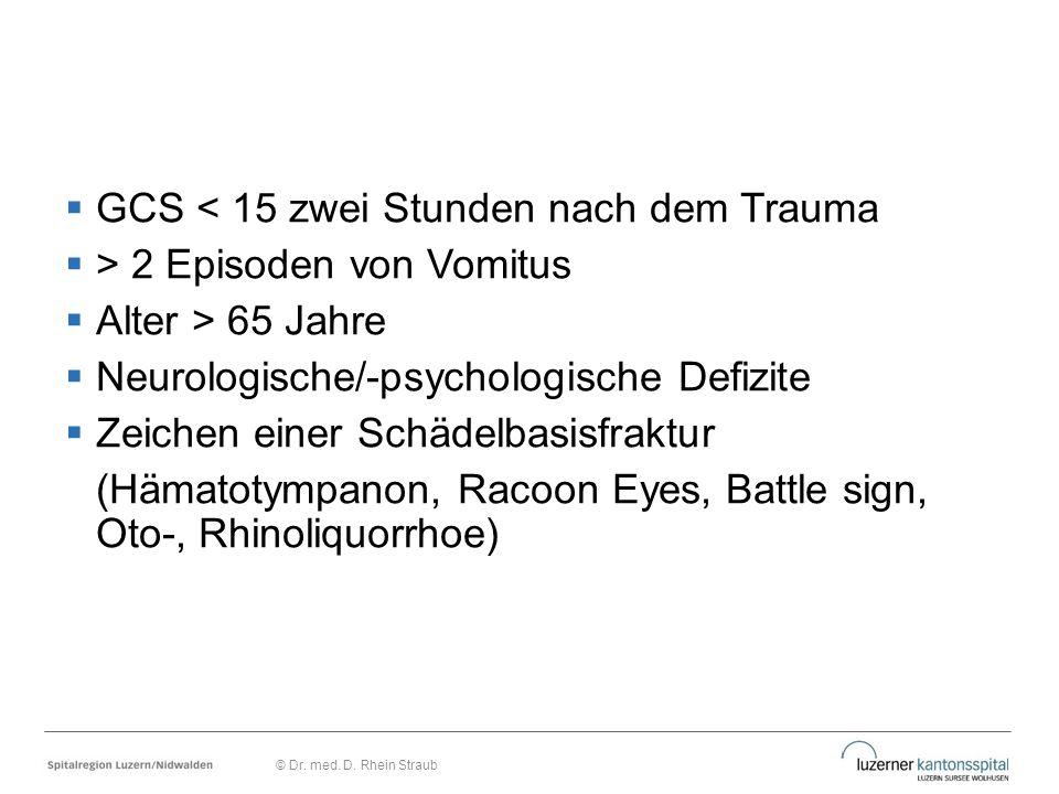 GCS < 15 zwei Stunden nach dem Trauma > 2 Episoden von Vomitus