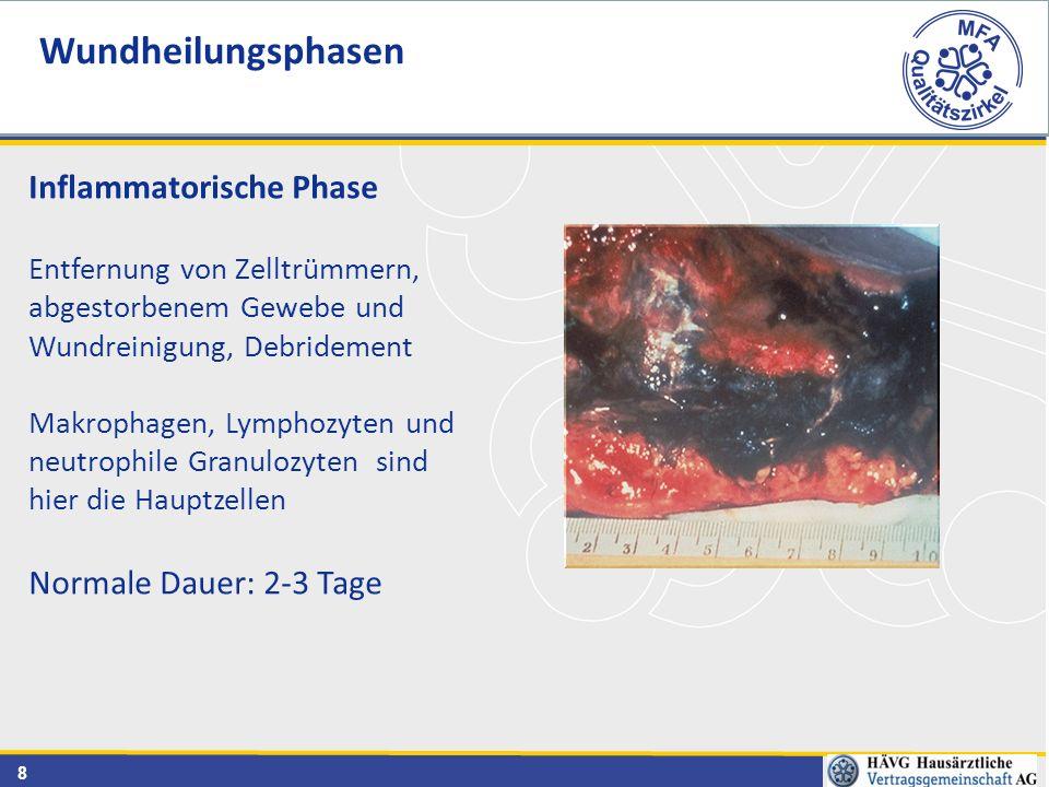 Wundheilungsphasen Inflammatorische Phase Normale Dauer: 2-3 Tage
