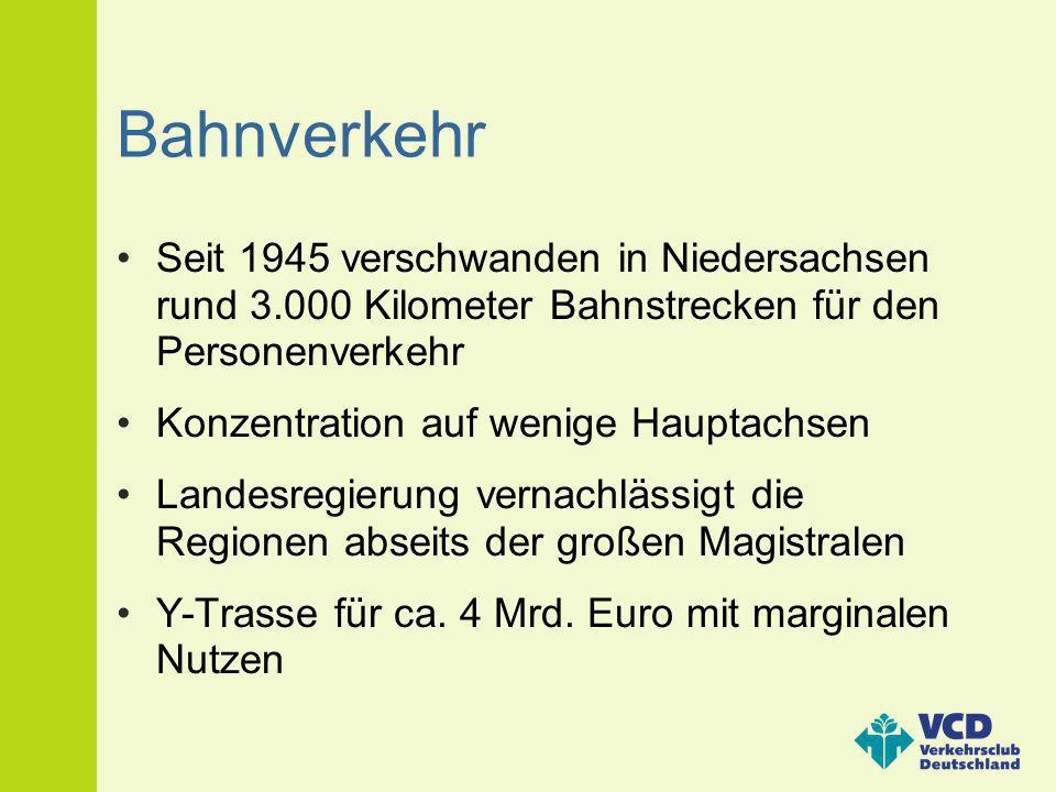 Bahnverkehr Seit 1945 verschwanden in Niedersachsen rund 3.000 Kilometer Bahnstrecken für den Personenverkehr.