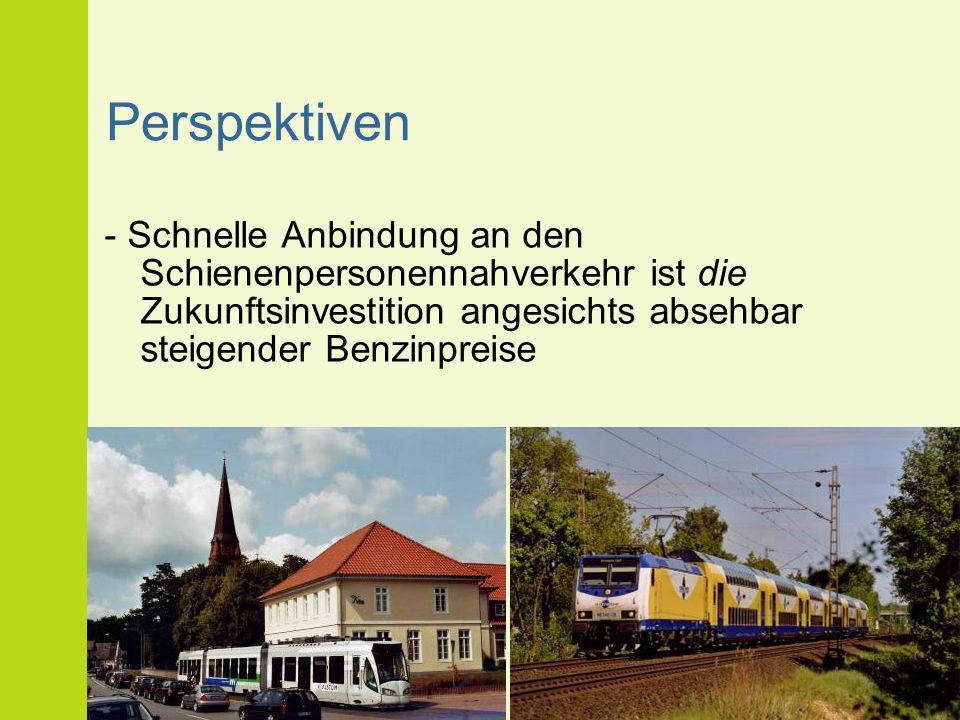 Perspektiven - Schnelle Anbindung an den Schienenpersonennahverkehr ist die Zukunftsinvestition angesichts absehbar steigender Benzinpreise.