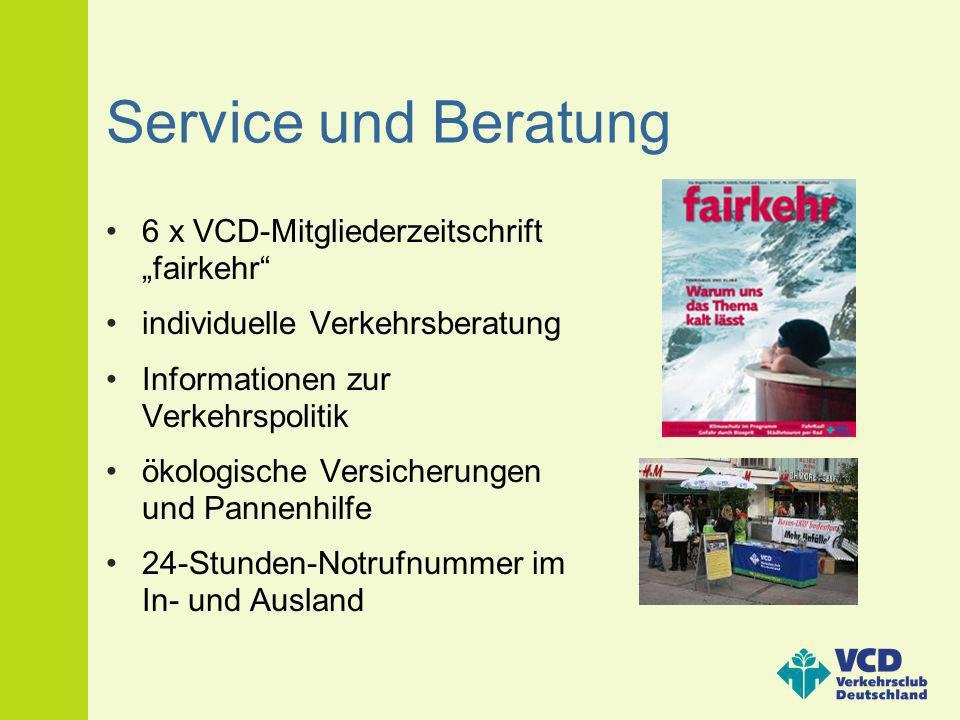 """Service und Beratung 6 x VCD-Mitgliederzeitschrift """"fairkehr"""