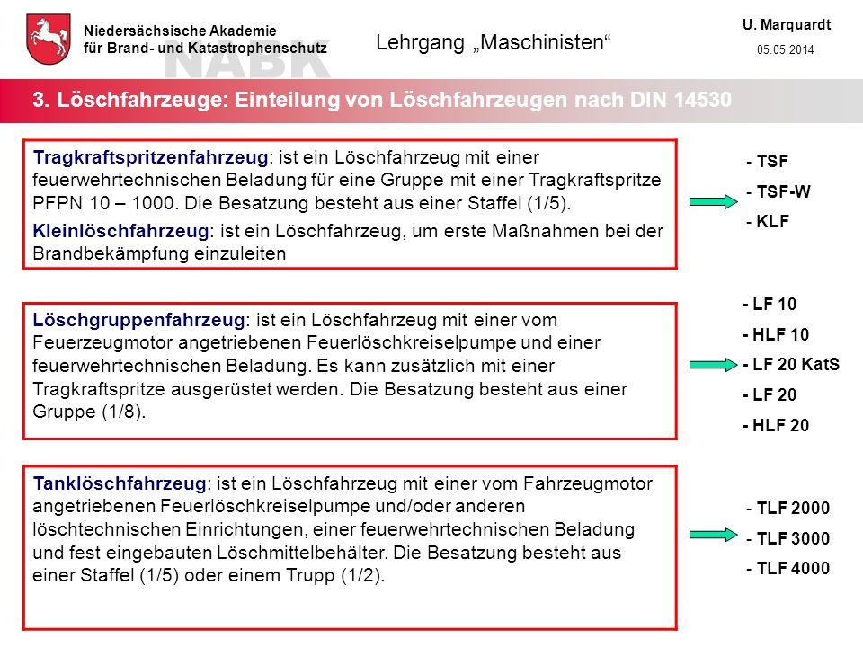 3. Löschfahrzeuge: Einteilung von Löschfahrzeugen nach DIN 14530