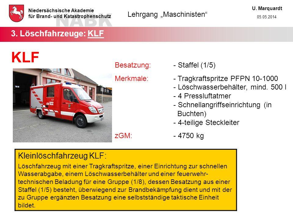 KLF 3. Löschfahrzeuge: KLF Kleinlöschfahrzeug KLF: