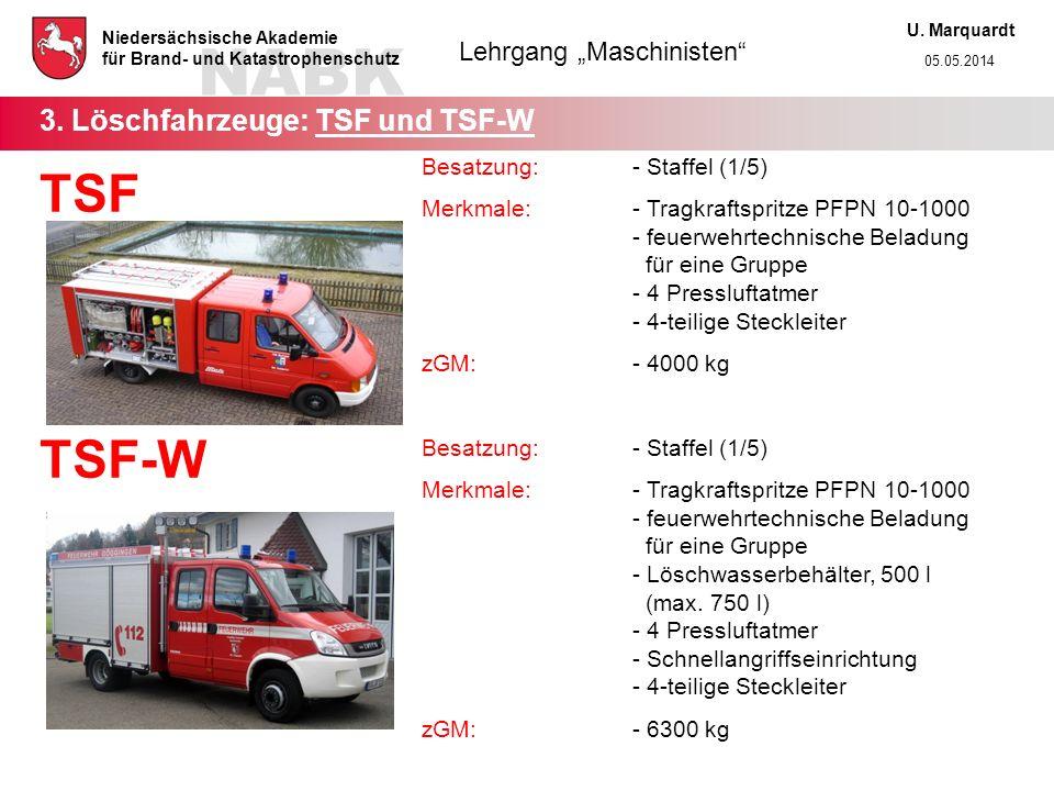 3. Löschfahrzeuge: TSF und TSF-W