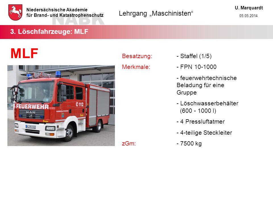 MLF 3. Löschfahrzeuge: MLF Besatzung: - Staffel (1/5)