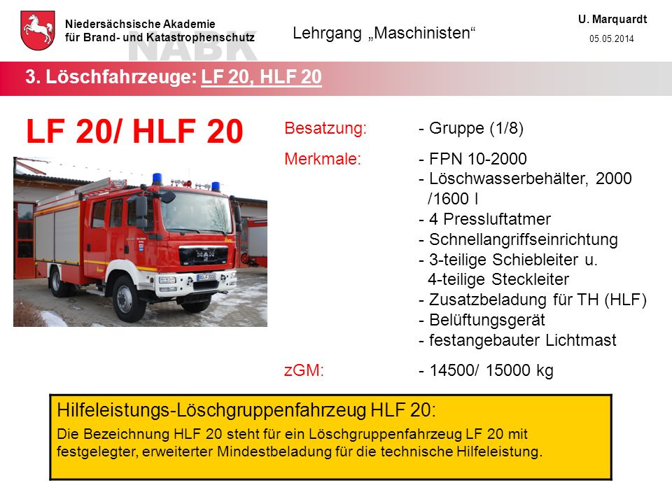 3. Löschfahrzeuge: LF 20, HLF 20
