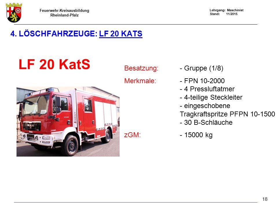4. Löschfahrzeuge: LF 20 KatS