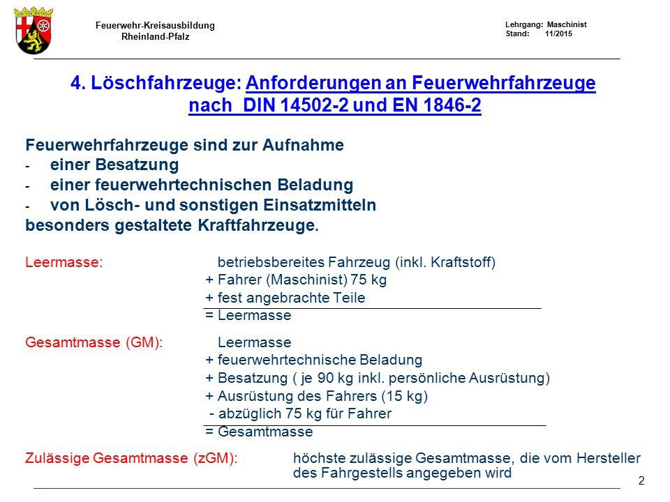 4. Löschfahrzeuge: Anforderungen an Feuerwehrfahrzeuge nach DIN 14502-2 und EN 1846-2