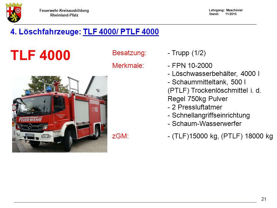 4. Löschfahrzeuge: TLF 4000/ PTLF 4000
