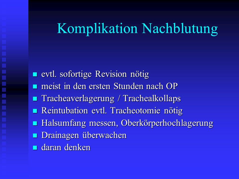 Komplikation Nachblutung