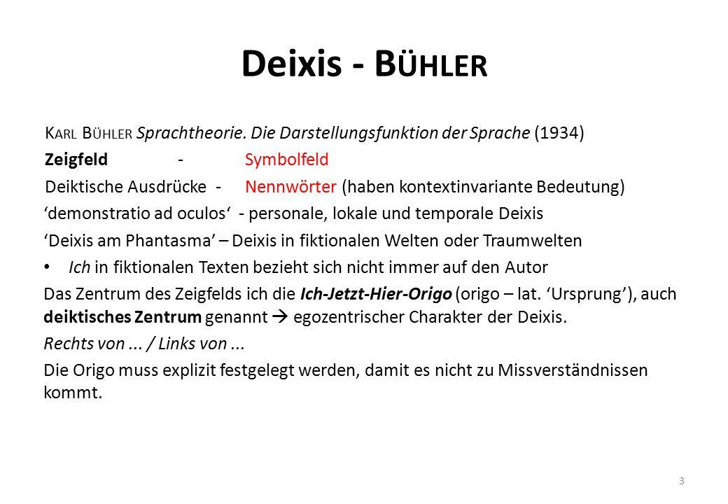 Deixis - Bühler Karl Bühler Sprachtheorie. Die Darstellungsfunktion der Sprache (1934) Zeigfeld - Symbolfeld.