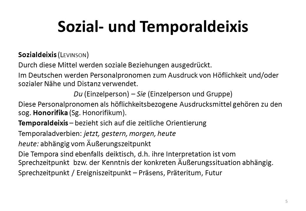 Sozial- und Temporaldeixis