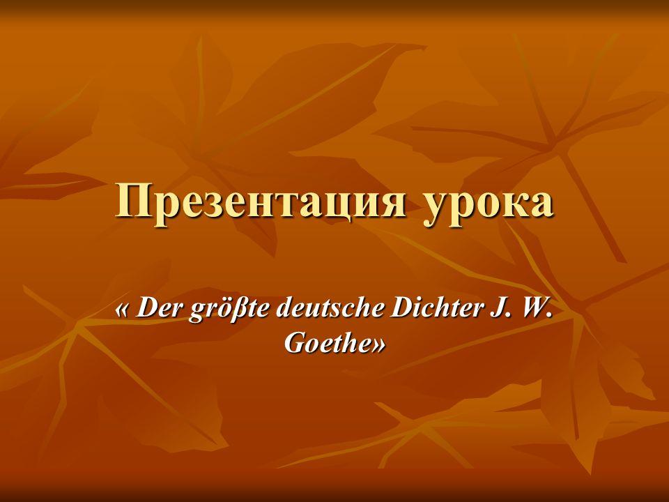 « Der gröβte deutsche Dichter J. W. Goethe»