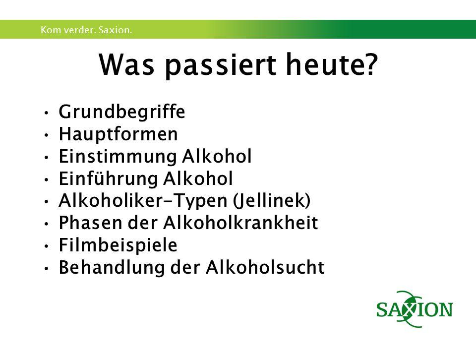 Was passiert heute Grundbegriffe Hauptformen Einstimmung Alkohol