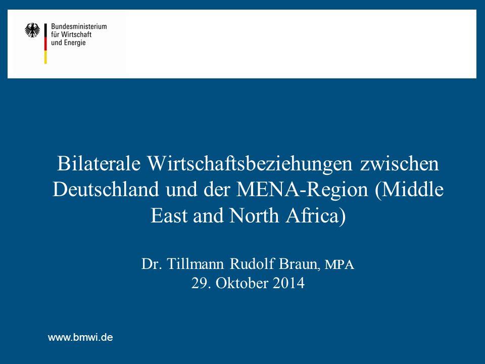 Bilaterale Wirtschaftsbeziehungen zwischen Deutschland und der MENA-Region (Middle East and North Africa) Dr.