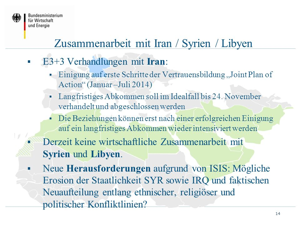 Zusammenarbeit mit Iran / Syrien / Libyen