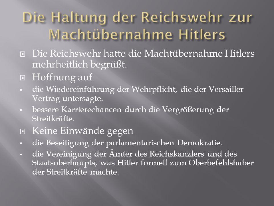 Die Haltung der Reichswehr zur Machtübernahme Hitlers