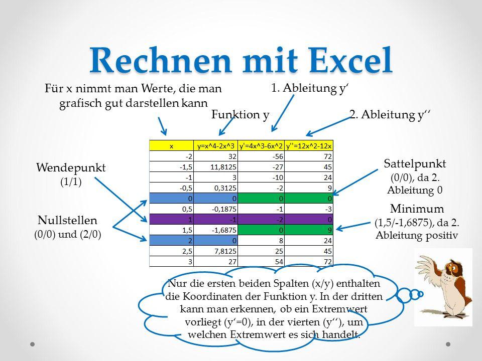 Rechnen mit Excel Für x nimmt man Werte, die man grafisch gut darstellen kann. 1. Ableitung y' Funktion y.