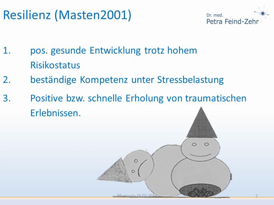 Resilienz (Masten2001) 1. pos. gesunde Entwicklung trotz hohem Risikostatus. 2. beständige Kompetenz unter Stressbelastung.