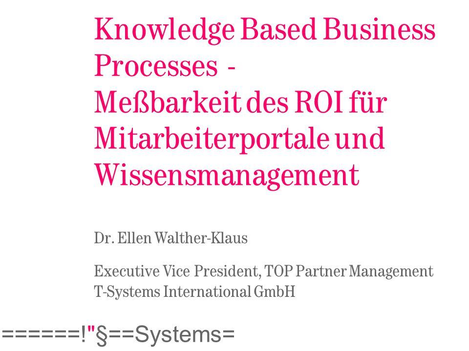 Knowledge Based Business Processes - Meßbarkeit des ROI für Mitarbeiterportale und Wissensmanagement