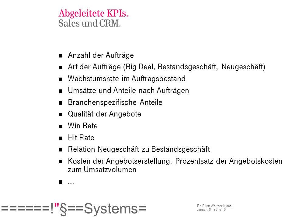 Abgeleitete KPIs. Sales und CRM.