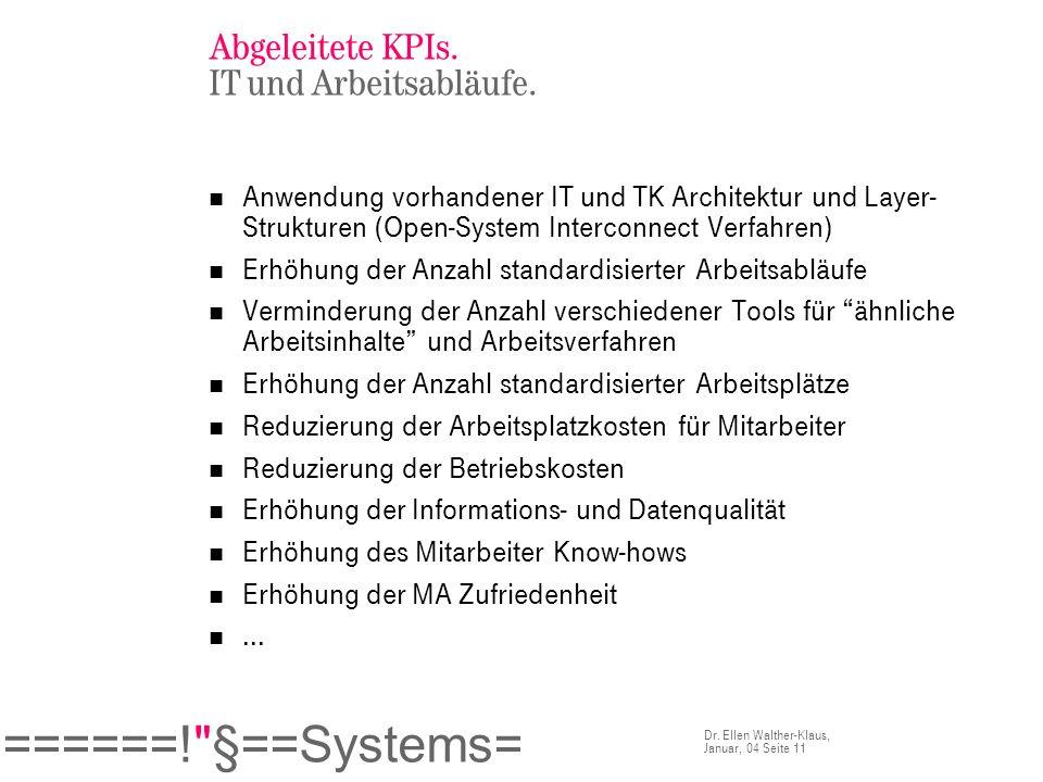 Abgeleitete KPIs. IT und Arbeitsabläufe.