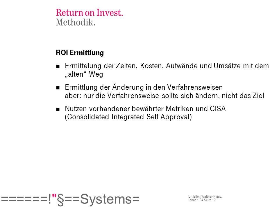 Return on Invest. Methodik.