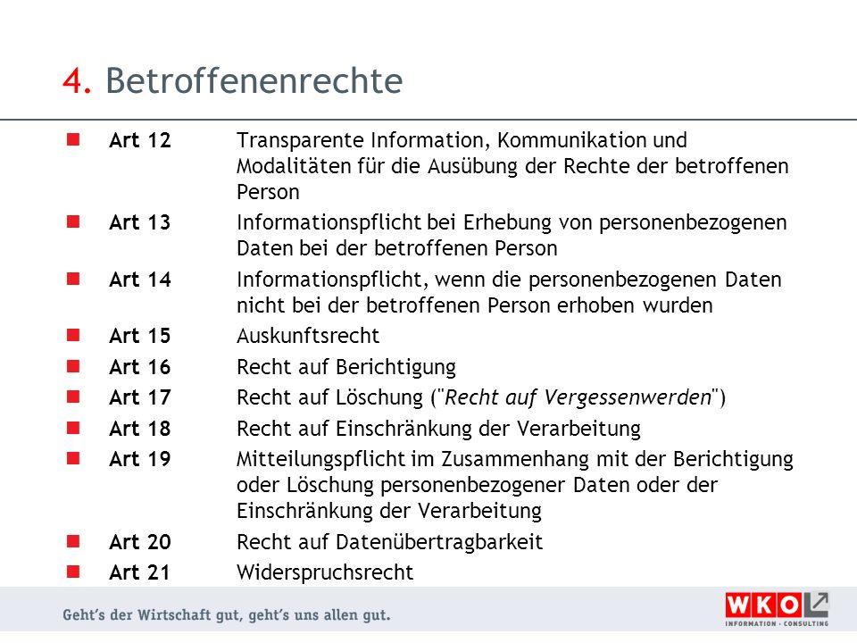4. Betroffenenrechte Art 12 Transparente Information, Kommunikation und Modalitäten für die Ausübung der Rechte der betroffenen Person.
