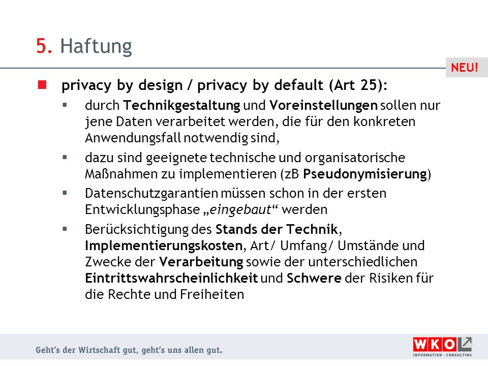 5. Haftung privacy by design / privacy by default (Art 25):