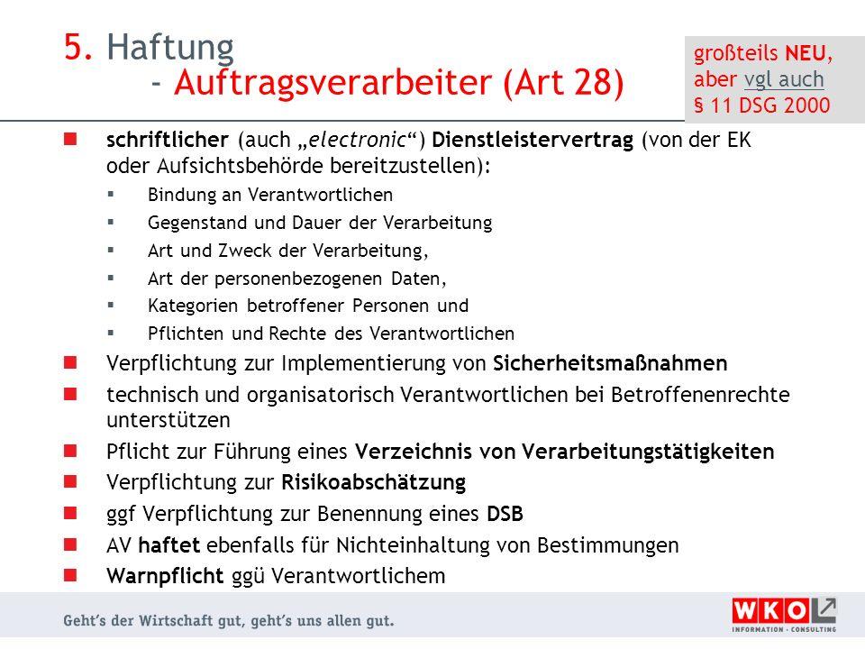 5. Haftung - Auftragsverarbeiter (Art 28)