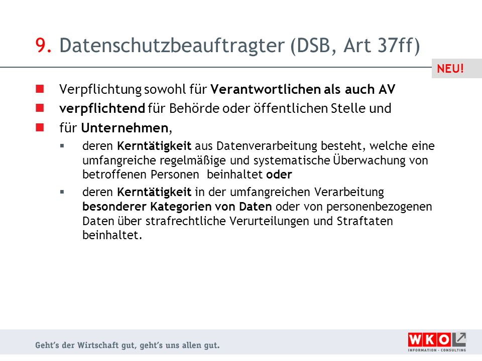 9. Datenschutzbeauftragter (DSB, Art 37ff)
