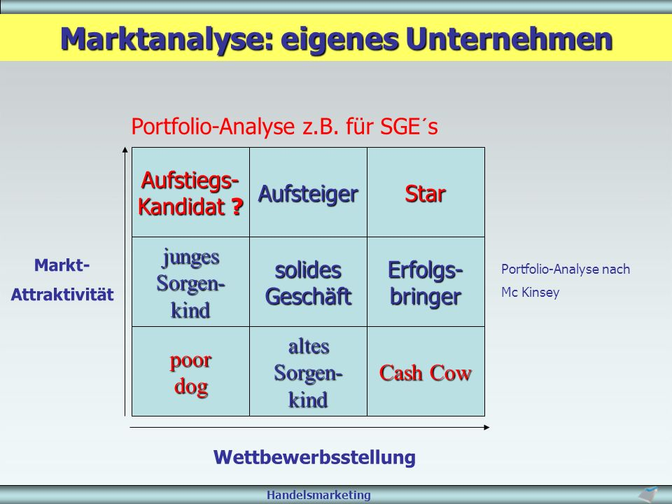 Marktanalyse: eigenes Unternehmen