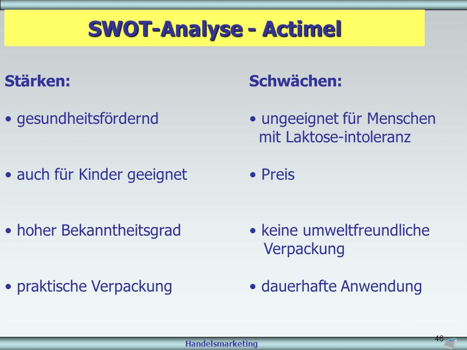 SWOT-Analyse - Actimel