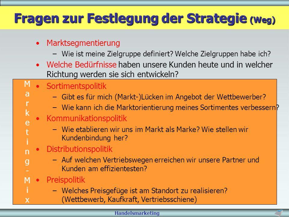 Fragen zur Festlegung der Strategie (Weg)