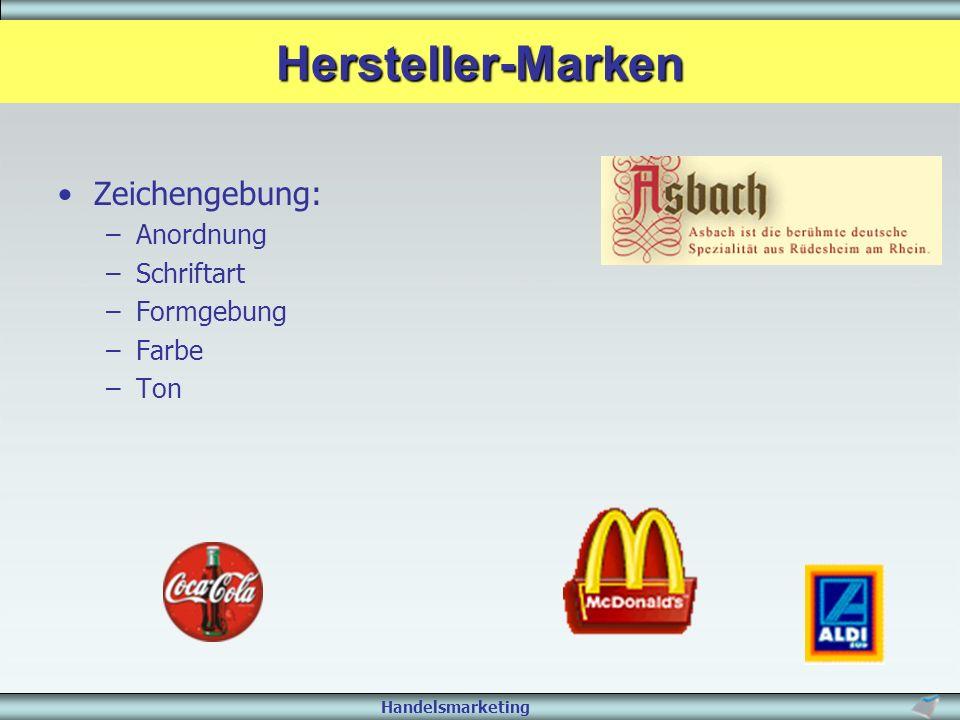 Hersteller-Marken Zeichengebung: Anordnung Schriftart Formgebung Farbe