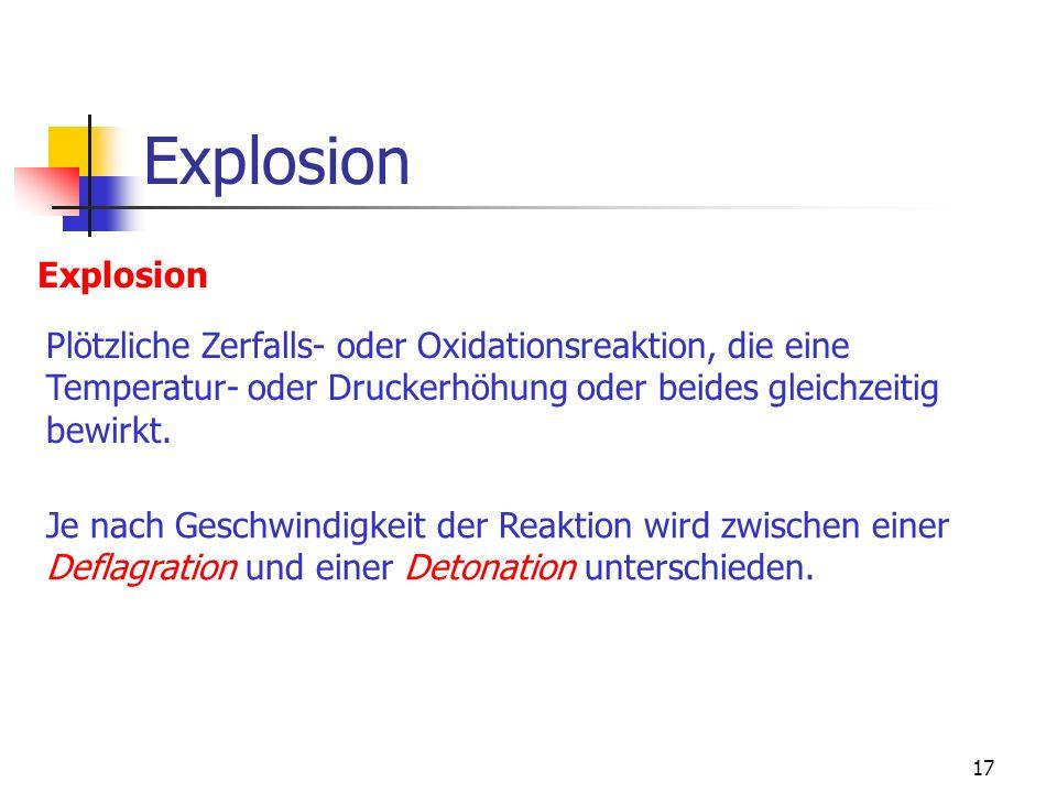 Explosion Explosion. Plötzliche Zerfalls- oder Oxidationsreaktion, die eine. Temperatur- oder Druckerhöhung oder beides gleichzeitig.