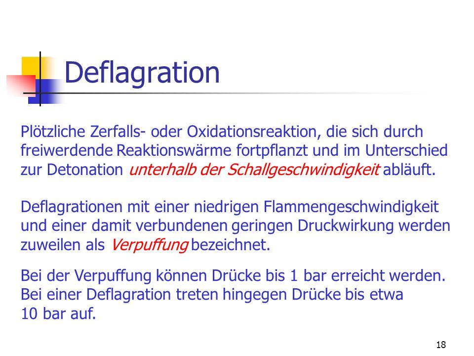 Deflagration Plötzliche Zerfalls- oder Oxidationsreaktion, die sich durch. freiwerdende Reaktionswärme fortpflanzt und im Unterschied.