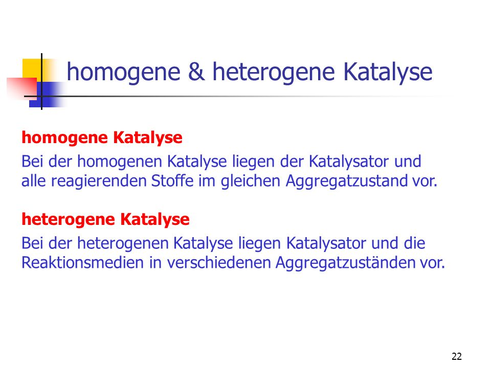 homogene & heterogene Katalyse