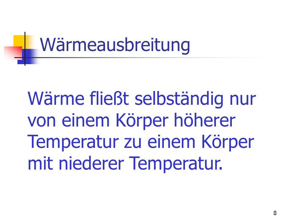 Wärmeausbreitung Wärme fließt selbständig nur. von einem Körper höherer. Temperatur zu einem Körper.
