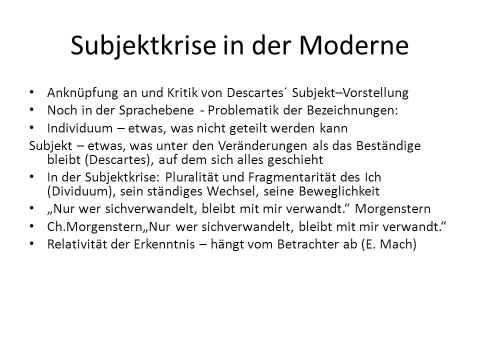 Subjektkrise in der Moderne