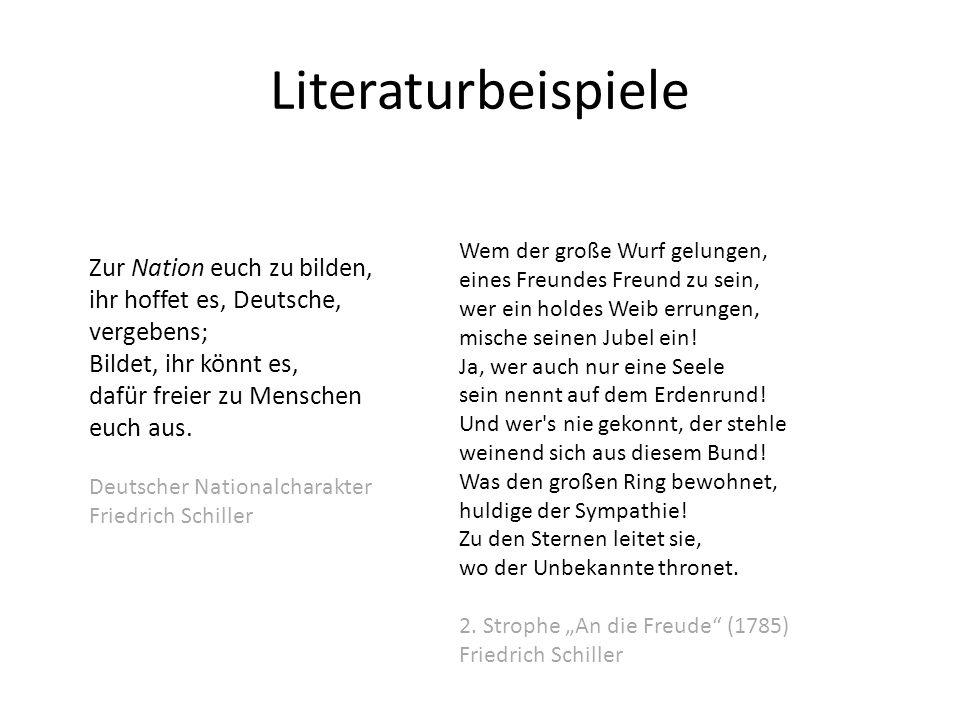 Literaturbeispiele Zur Nation euch zu bilden, ihr hoffet es, Deutsche,