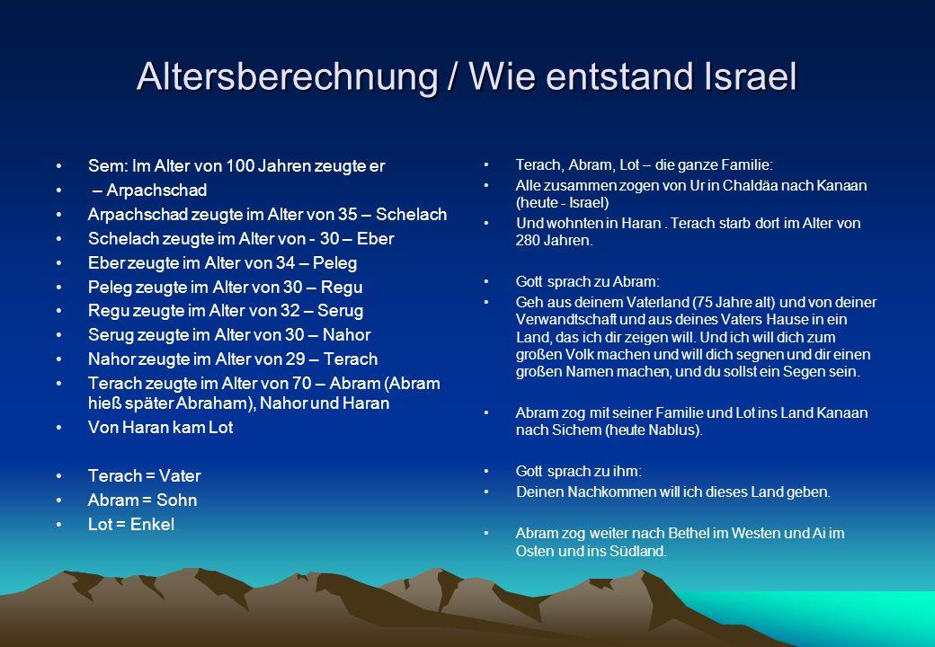 Altersberechnung / Wie entstand Israel