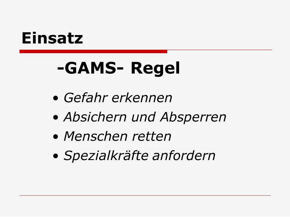 Einsatz -GAMS- Regel Gefahr erkennen Absichern und Absperren